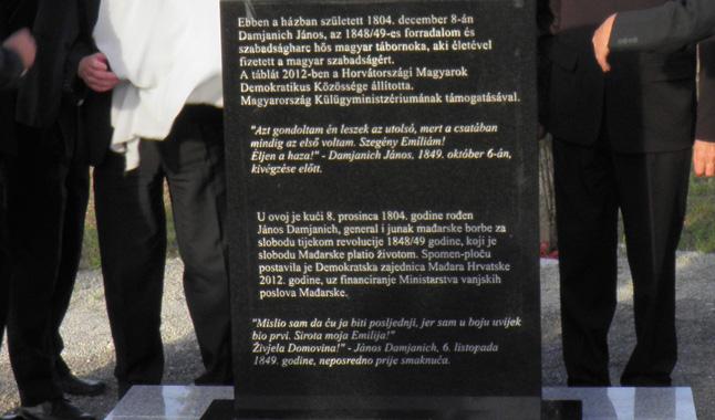 Damjanich-emlékmű, Staza